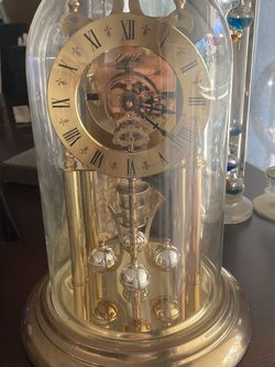 Vintage Elgin 400 Day Brass Anniversary Clock Haller Germany Wind-Up Glass Dome for Sale in Tualatin,  OR