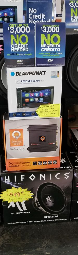 """Blaupunkt stereo with Android Phone Link & 12"""" Hifonics Subwoofer System for Sale in Las Vegas, NV"""