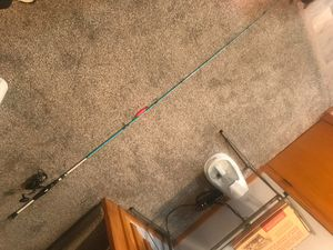 "Fishing rod and reel, Wright and McGill Inshore Slam Flats Blue 7'3"" rod, Penn Battle 5000 series reel with PowerPro Olive braid for Sale in Cuyahoga Falls, OH"