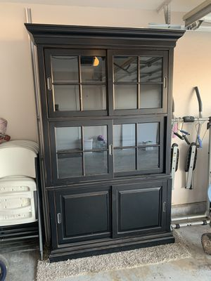 Storage Cabinet Furniture Sliding Glass Doors and Shelves for Sale in Phoenix, AZ