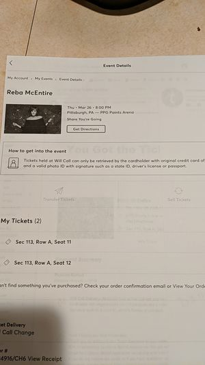 Reba concert tickets for Sale in McDonald, PA