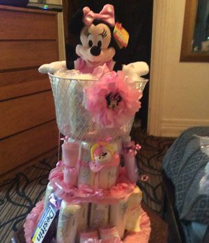 Huge Minnie Mouse Diaper Cake For a Girl for Sale in Rochester, NY