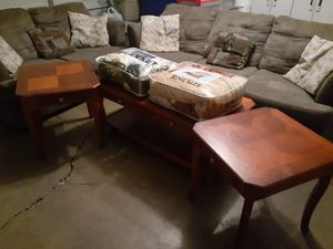 Sofa, loveseat, 6 pillows 2 end side tables, 1 coffee center table and 2 big blankets queen and king size all for $350 read entire description for Sale in Stockton, CA
