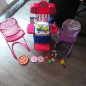 Baby Alive Kitchen + Accessories & Pink & Purple High Chair for Sale in Lilburn, GA