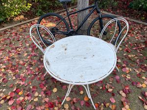 Outdoor Bistro Table with 2 metal chairs (I will was it for you before pickup) for Sale in Los Gatos, CA
