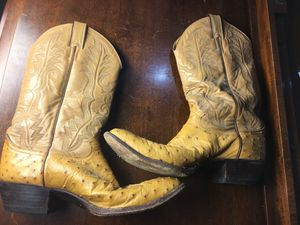 Justin Exotic Western Men's Ostrich Quill Boots Sz 10.5D Style 8931 Retail $519 for Sale in Atlanta, GA