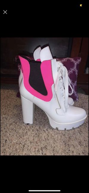 Sexy Pink & White Thick Boots Heels for Sale in Fort Washington, MD