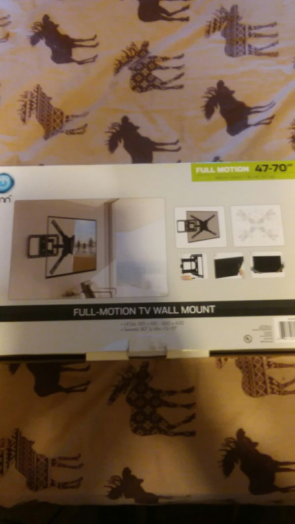 "ONN Full Motion 47""-70"" T.V. wall mount. 80 LBS Capacity. Tilts, swivels and pulls out from wall."