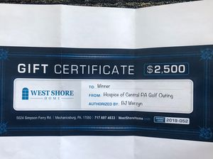$2,500 West Shore Home Gift Certificate for Sale in Mechanicsburg, PA