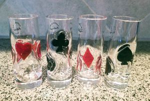 Hand Blown Shot Glasses Card Suits Inlays NWOB for Sale in Puyallup, WA