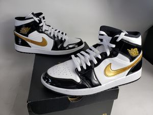 Jordan 1 mid patent leather black gold used for Sale in Columbus, OH