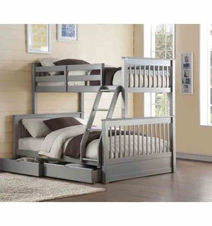 Twin/Full Bunk Bed w/2 Drawers - 37755 - Gray L F for Sale in Ontario, CA