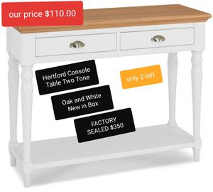 HERTFORD CONSOLE TABLE TWO TONE for Sale in Fresno, CA