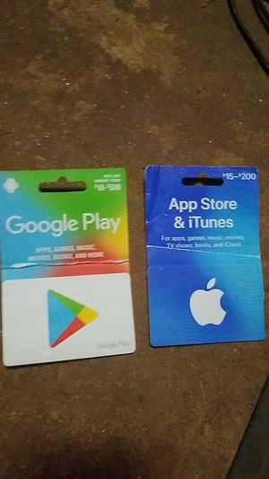 Google play card, app store and iTunes card both have 30 dollars on them will take 25 per card for Sale in Lynchburg, VA