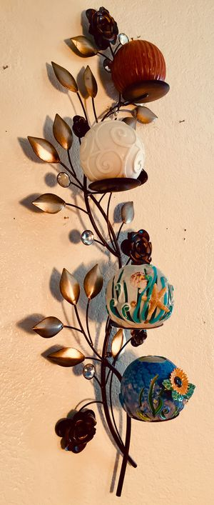 Metal art wall accent candle holder H36xW12xD5 inch for Sale in Chandler, AZ