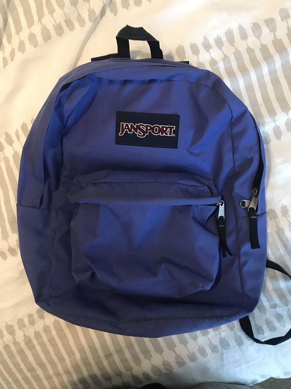 Jansport 2 pocket backpack w/ adjustable straps - purple - LIGHTLY USED