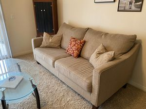 Living room furniture: Couch and Glass Coffee Table for Sale in Rancho Cucamonga, CA