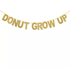 DONUT GROW UP Gold Glitter Party Banner Birthday Party Bunting Donut Theme Party Decorations for Sale in Los Angeles, CA