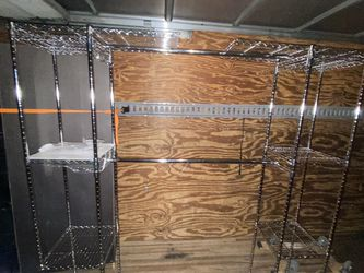 Expandable Metal Hanging Storage Rack Wardrobe with Shelves for Sale in Houston,  TX