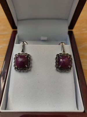 Earrings; Raw rubbies, champagne diamond surrounded in Sterling. for Sale in San Diego, CA