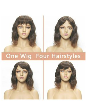 DreamSoul Short Curly Wavy Bob Wigs With Air Bangs Shoulder Length Synthetic Natural Black Mix Brown wigs for women for Sale in South El Monte, CA
