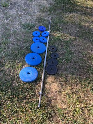 Straight curl bar with weights for Sale in Mill Valley, CA