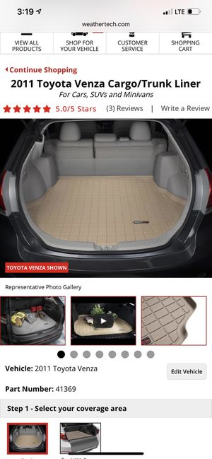 Toyota venza. Weather tech floor liner. Used like new. for Sale in Buffalo Grove, IL