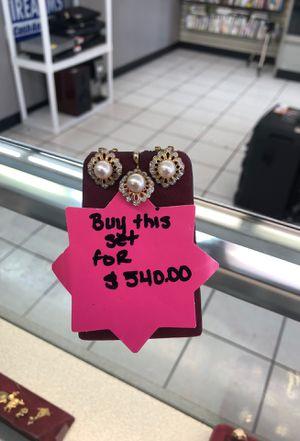14K Diamond/Pearl Earring & Pendant Set for Sale in San Antonio, TX