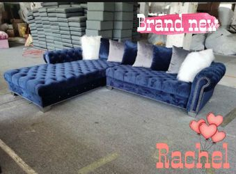 🦇🏜️London OVERSIZED - Grey or Blue Velvet sectional couch 🛋 Same day delivery No credit check 🌙 for Sale in Houston,  TX