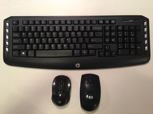 HP Wireless Keyboard and 2 Wireless Mouse for Sale in Ellisville, MO