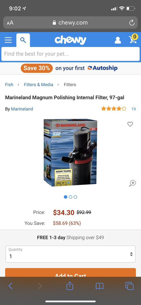 Water filter aquarium marineland