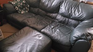 Dark green leather couch with ottoman for Sale in North Bend, WA