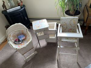 The berry twins 1970 kids babydoll play set Crib, highchair, changing table for Sale in Derry, NH