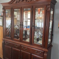 China Cabinet With Lights & Cherry In Color for Sale in Oceanside,  NY