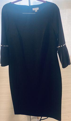 Calvin Klein Womens Black Imitation Pearl Trim Sheath Dress Size 14 for Sale in Philadelphia, PA