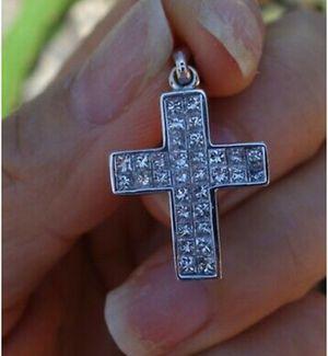 1.40ct H/VS-Si1 Princess diamond cross invisible set Pendant no chain for Sale in Garwin, IA
