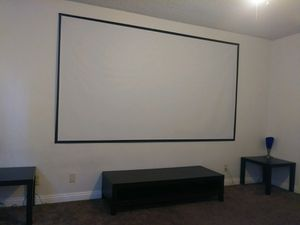 New 120 inches 16:9 ratio PVC fabric roll up projector projection screen with velcro mounts included for Sale in Los Angeles, CA