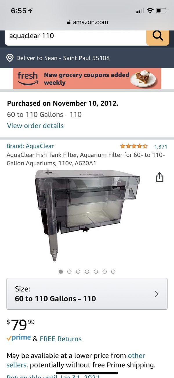 AquaClear AC110 Fish Tank Filter Aquarium 30 to 110 Gallon A620A1 hob