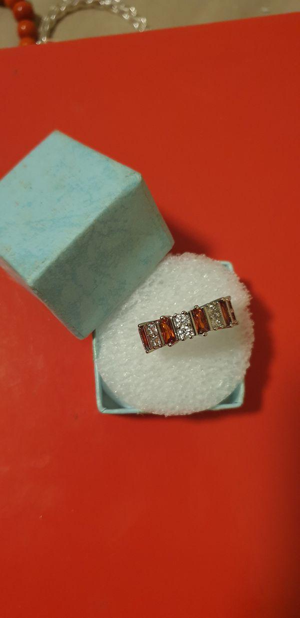 925 sterling silver Cz ring sz 7