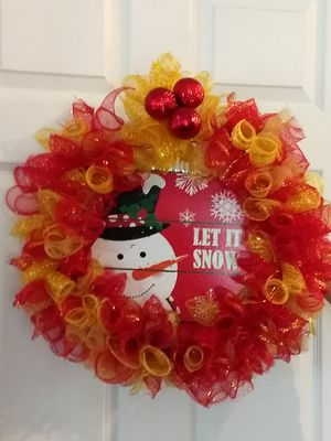 """Red and gold """" let it snow """" wreath for Sale in Fort Wayne, IN"""