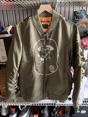 Olive Bape Bomber Jacket - Size M for Sale in Pacifica, CA
