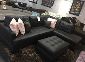 Brand New Faux Leather Sectional Sofa Couch + Ottoman for Sale in Silver Spring, MD