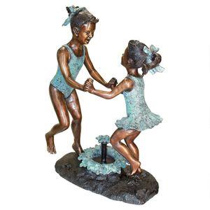 Bronze Toscano dancing, splashing girls water fountain for Sale in Tracy, CA