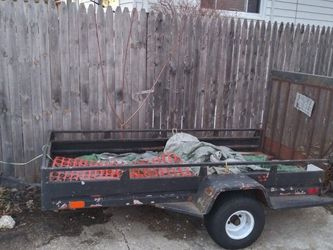 UTILITY TRAILER 4x7 WITH .manual Winch Loading Ramp ,lawn Equipment ATV Dirt Bikes Tracker Construction Material for Sale in Bellwood,  IL