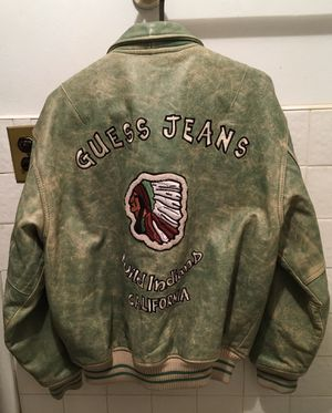 Guess distressed green tea Indian leather jacket, medium for Sale in Brooklyn, NY