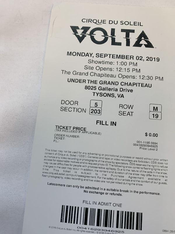 2 tickets for Cirque Du Soleil