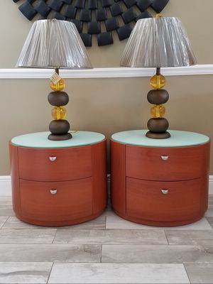 """Brand new modern cherry wood oval 2 drawer nightstand / end tables with white glass top with new lamps H=19"""" d=19"""" w=24"""" for Sale in Boca Raton, FL"""