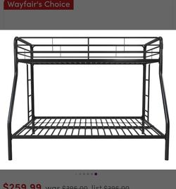 Bunk Bed , Kids Bunk Bed, Unisex ,twin Over Full Metal Bunk Bed Black , Top Twin And Bottom Is Full for Sale in Kissimmee,  FL