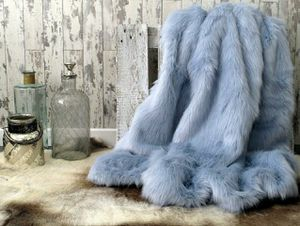 Faux Fur Baby Blue Luxury Throw Blanket 3'x5' for Sale in Commerce, CA