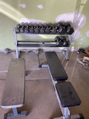 Dumbbell rack weights curl bar and benches for Sale in Glendora, CA